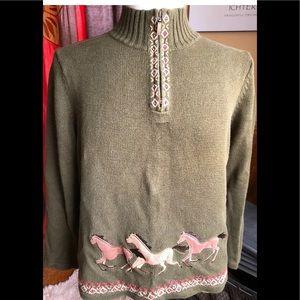 Horse Appliqués Cotton Sweater Green / Brown XL